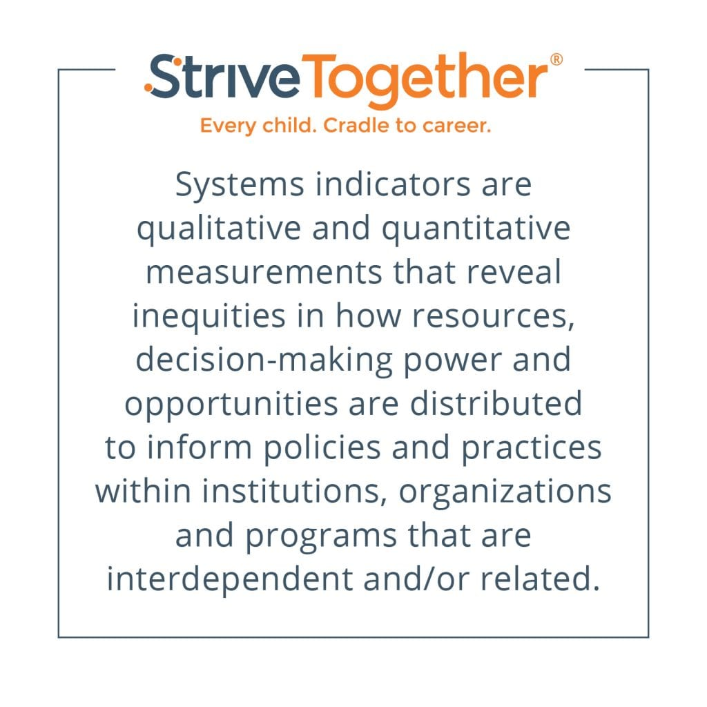 Systems indicators are qualitative and quantitative measurements that reveal inequities in how resources, decision-making power and opportunities are distributed to inform policies and practices within institutions, organizations and programs that are interdependent and/or related.